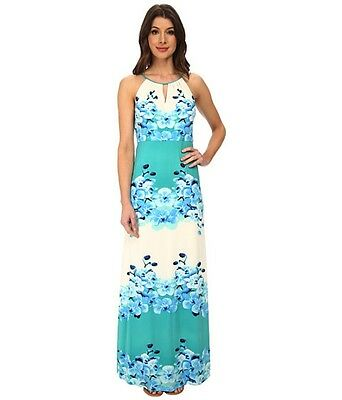 Julia Jordan 33065 summer cocktail prom IV/jade/blue/orchid print MAXI dress 12