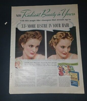 "1940 Drene Shampoo Vintage Magazine Ad ""Now radiant beauty is yours"""