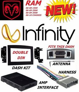 06 07 08 09 10 DODGE RAM INFINITY STEREO RADIO DOUBLE DIN INSTALLATION DASH KIT