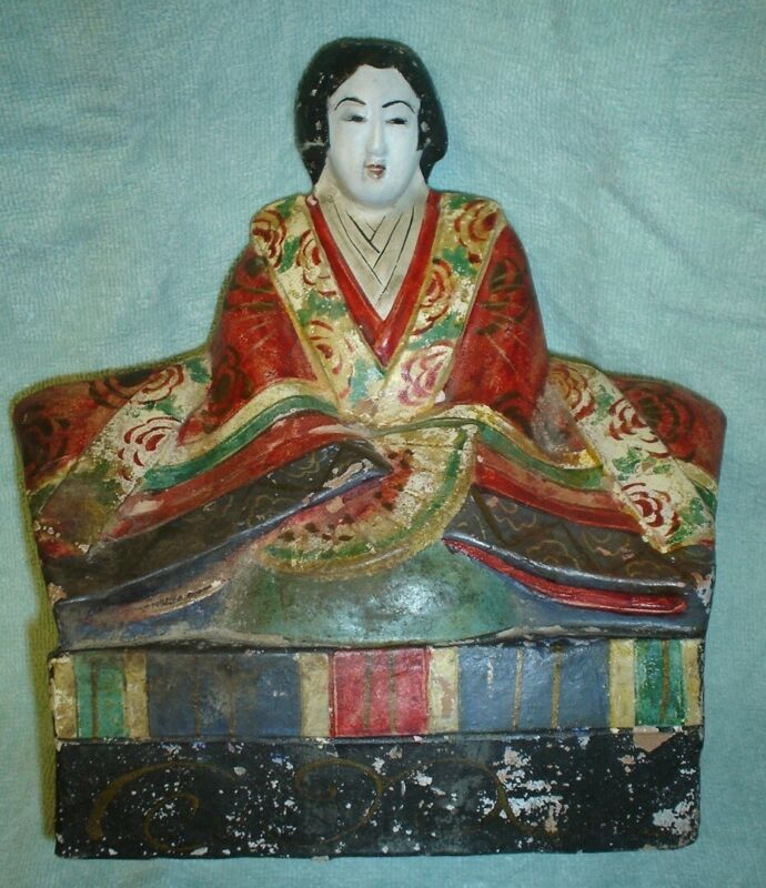 Antique Japanese Meiji Papier Mache Figure Of Empress
