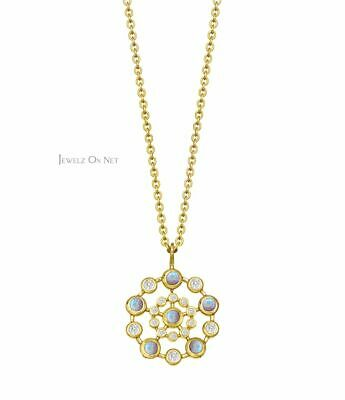 14K Gold Genuine Diamond And Opal Gemstone Concentric Circles Pendant Necklace Concentric Circles Diamond Necklace