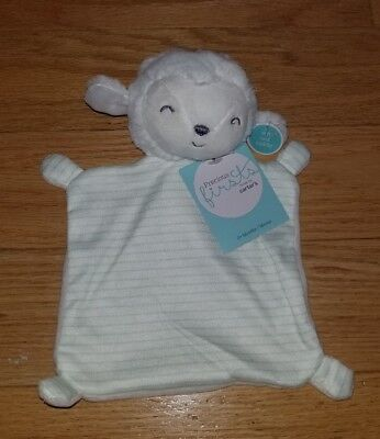 PRECIOUS FIRSTS by Carter's White LAMB Security Blanket Lovey Green Stripe NEW