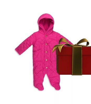 $74 Polo Ralph Lauren Baby Girl's Quilted Snow Suit Bunting Size 9 months Pink