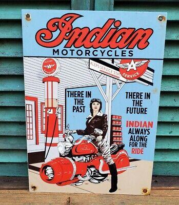 LARGE OLD VINTAGE 1951 INDIAN MOTORCYCLES FLYING A PORCELAIN GAS STATION SIGN