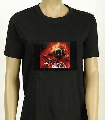 EL T-Shirt animiert DJ Tod LED Skelett Kostüm Halloween Shirt Disco ()