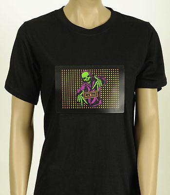 EL T-Shirt animiert Skelett Rapper LED Kostüm Halloween Shirt Disco