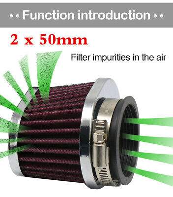 1 Pair Red 50mm Intake Air Cleaner Filter Motorcycle Scooter Air Pods Cleaner