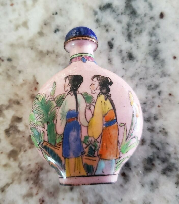 CHINESE BRASS SNUFF BOTTLE; HAND PAINTED ENAMEL;Ladies; MINT condition