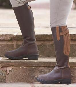 New-Shires-Ladies-Burghley-Long-Leather-Riding-Boots-Zip-up-Sizes-4-9-Brown