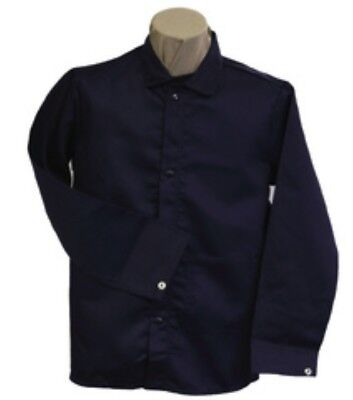 Stanco Safety 3X Navy Blue Cotton Flame Resistant Welding Jacket Snap Closure Blue Flame Snap