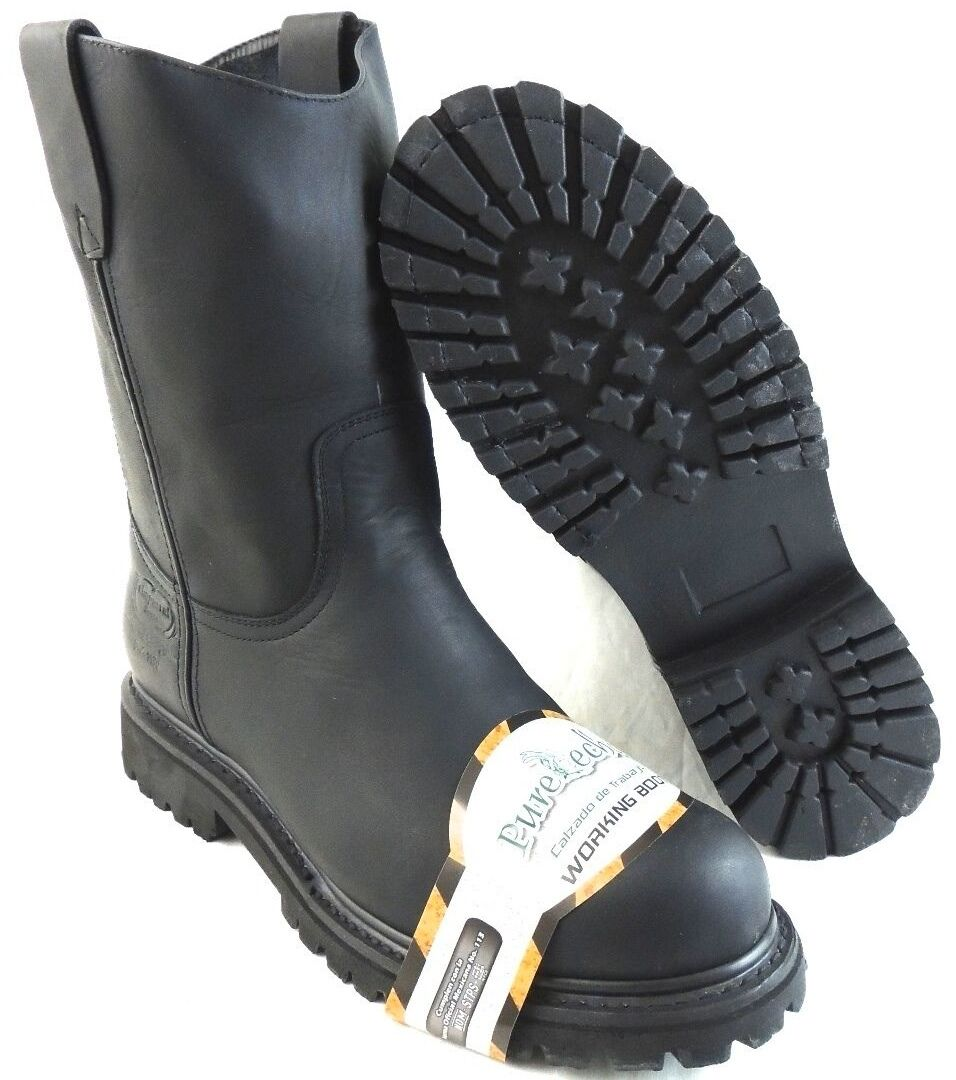 Boots - MEN'S STEEL TOE WORK BOOTS PULL ON SAFETY GENUINE BLACK LEATHER OIL RESISTANT