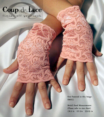 Pair of Fingerless Lace Gloves - Coral Pink - Pick your size](Pink Lace Gloves)