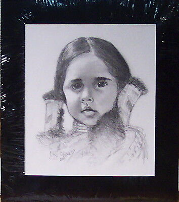 Little Deer by Bill Crowley original graphite portrait of a young Indian girl