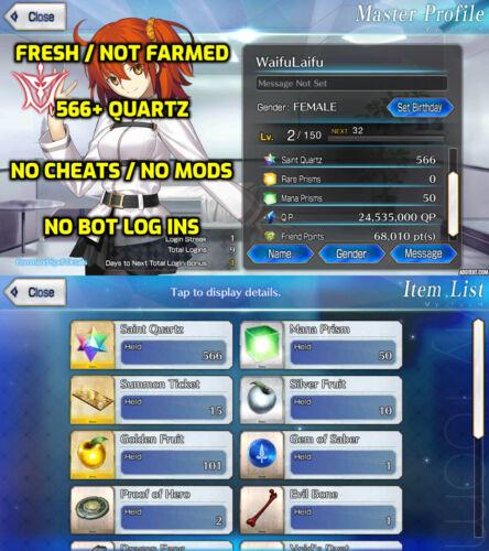 FGO Account, Fate Grand Order, 566+ QUARTZ, SQ, FRESH, NA, STARTER, 15+ Tickets
