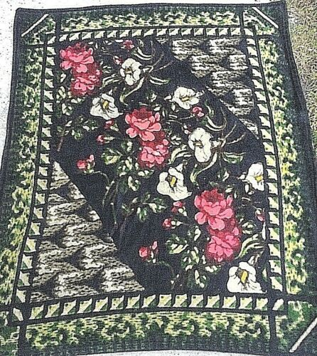 "Antique Chase Amish Blanket Horse Buggy Sleigh Lap Floral Print Mohair 48""x60"""