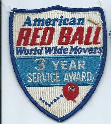 American Red Ball World Wide Movers 3 yr service award patch 4-5/8X3-7/8 #351