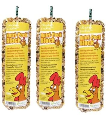 3 x Nutri Peck Block 250g Anti Feather Pecking Grit poultry treat Chicken Lickin