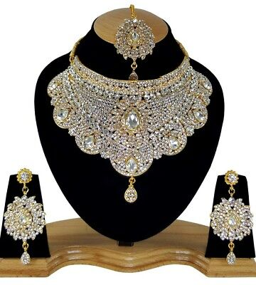 Indien Schmuckset Schmuck Set Bauchtanz Hochzeit Silber Braut Kristall Oper Ball ()