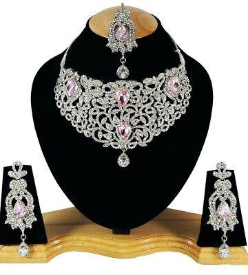 Schmuckset Kette Hochzeit Silber rosa Braut neu Collier Ohrringe Schmuck Indien ()