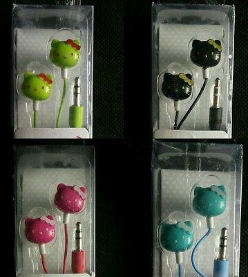 LOT OF 4 HELLO KITTY EARPHONES 3.5mm NOISE REDUCING EARBUDS EARPHONES ()