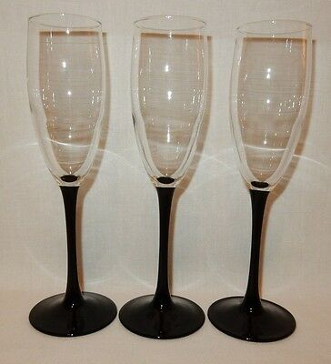 Set 3 Black Stem Wine Champagne Flutes Glass Crystal Goblet 8 3/4