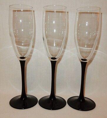 (Set 3 Black Stem Wine Champagne Flutes Glass Crystal Goblet 8 3/4