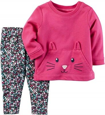 Carter's Baby Girl Pink 3D Kitten Terry Top & Floral Legging 2pc Set NWT $24