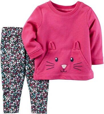 Carter's Baby Girl Pink 3D Kitten Terry Top & Floral Legging