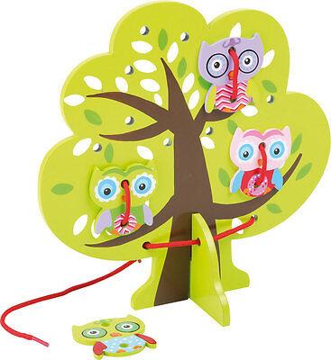 Fädelspiel Fädelbaum Eule Fädelbrett Fädeln Motorik Holz Fädelspaß