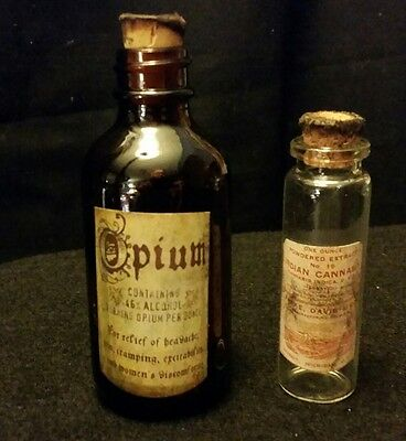 2..Vintage Style=1...Opium.1..Cannabis  Medicine Bottles..Handcrafted By Artist