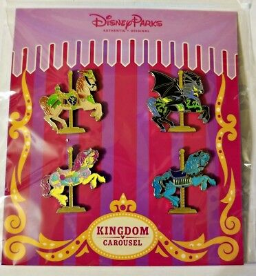 Disney Pin Booster Pack 4 horses KINGDOM CAROUSEL - Sealed NEW