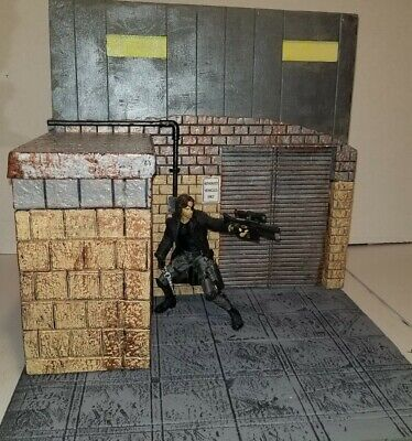 CUSTOM HANDMADE ALLEY GARAGE WAREHOUSE 6 INCH SCALE ACTION Figure Diorama