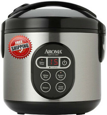 Aroma 8-Cup Digital Rice Cooker & Scoff Steamer Stainless Steel New Free Shipping
