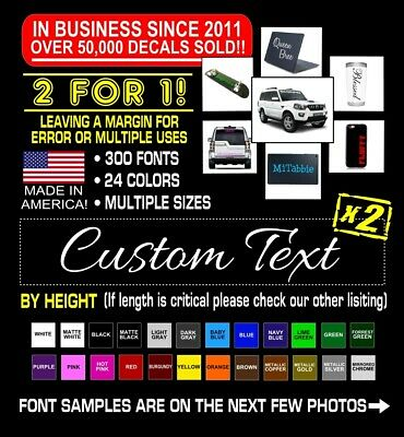 Home Decoration - 2x Custom Vinyl Decal Sticker Lettering Personalized Business Text Laptop Car #3