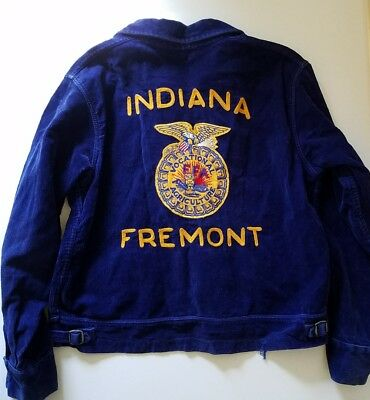 Men's Vintage 50's 60's INDIANA FFA Vocational Agriculture Corduroy Jacket Sz 44