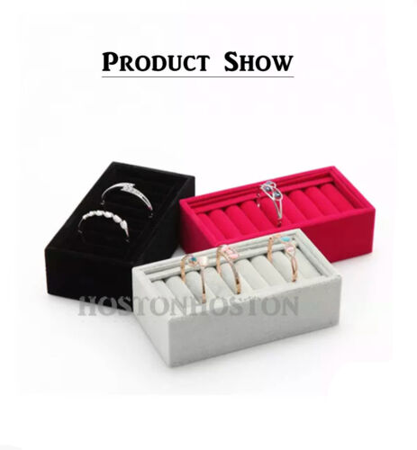 Top Quality Ring Earring Velvet Jewellery Display Box Storage Tray Case Stand
