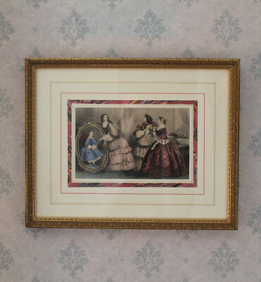 Professionally Framed Antique 1860s Fashion Plate