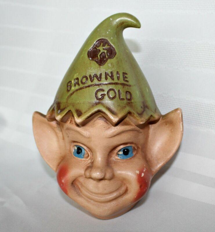 Vintage Girl Scout / Brownie Gold Still Coin Bank ~ Brownie / Elf Head
