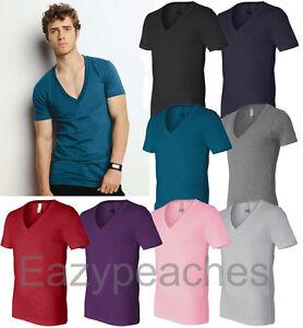 Bella-Canvas-Mens-Unisex-XS-XL-2XL-Deep-V-Neck-100-Cotton-T-Shirt-b-3105-Tee