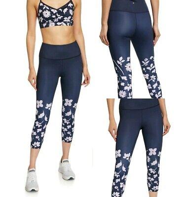 Kate Spade Blue Floral Crop Legging Athletic Pants Womens SZ XL NWT $118