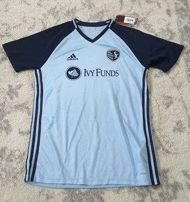 (MLS SPORTING KANSAS CITY Men's Short Sleeve Training Top JERSEY IVY FUNDS Size L)