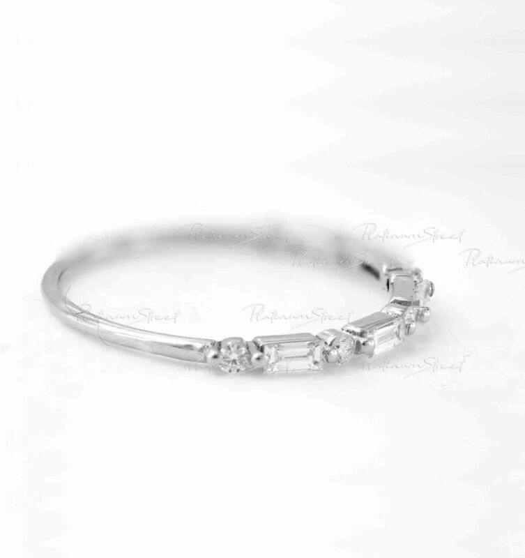 950 Platinum 0.30 Ct. Diamond Baguette VS Clarity F Color Band Ring Gfit For Her