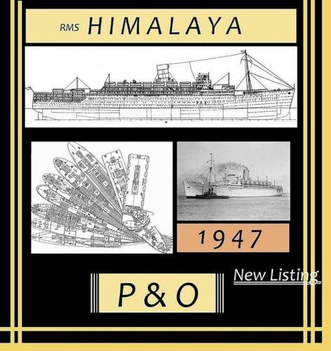 RMS HIMALAYA 1947 P&O: Complete Retractable GA Deck Plans & Profile
