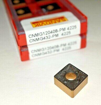 10 Pcs Sandvik Cnmg 432-pm Cnmg 120408-pm Grade 4225 Turning Carbide Inserts