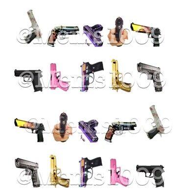 Gun nail art Decals water decals nail Guns Nail Art Decals Gang Nail Art -