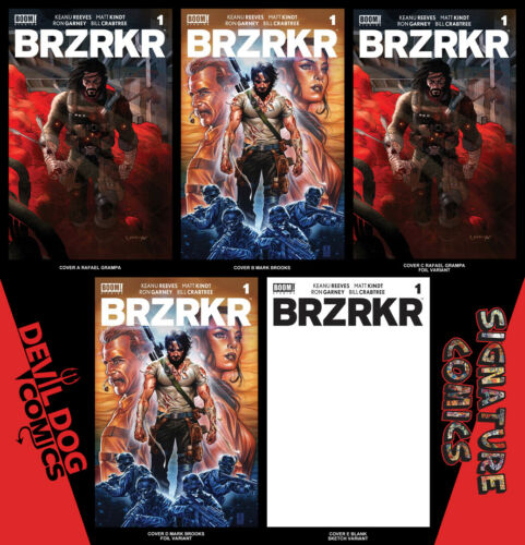 "BRZRKR #1 2021 A-E GRAMPA BROOKS FOIL & BLANK VARIANT SET / ""NM OR BETTER"""