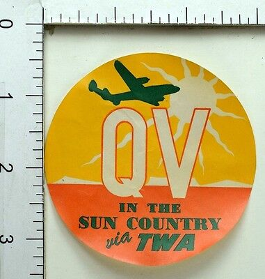 1940S 50S Qv In The Sun Country Twa Sunrise Luggage Label Poster Stamp E8