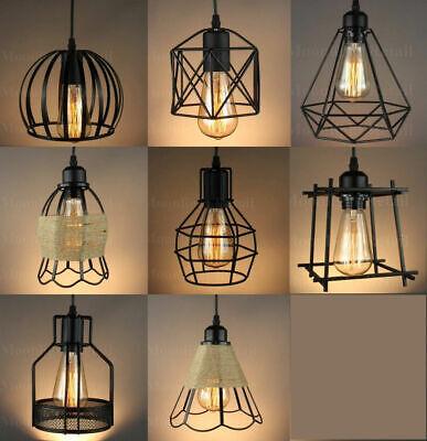 Vintage Industrial Metal Cage Black Cafe Loft Bar Pendant Light Lamp Shade