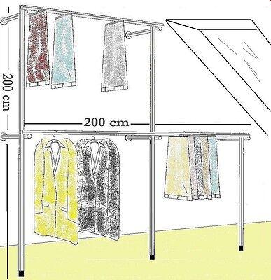 Kleiderständer Wandregal Kleiderstange Garderobe Dachschräge Ankleidezimmer W08