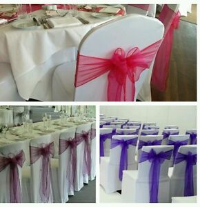 80 White Wedding Lycra chair covers and sashes for HIRE